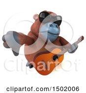 3d Orangutan Monkey Holding A Guitar On A White Background