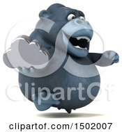 Clipart Of A 3d Gorilla Holding A Cloud On A White Background Royalty Free Illustration