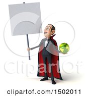 3d Dracula Vampire Holding A Globe On A White Background
