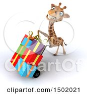 Poster, Art Print Of 3d Giraffe Facing Left And Moving Gifts On A Dolly On A White Background