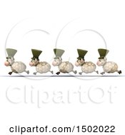 Clipart Of A 3d Line Of Happy Irish Sheep Running On A White Background Royalty Free Illustration