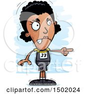 Clipart Of A Mad Pointing Black Female Track And Field Athlete Royalty Free Vector Illustration