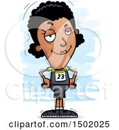 Clipart Of A Confident Black Female Track And Field Athlete Royalty Free Vector Illustration