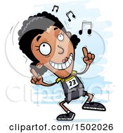 Clipart Of A Black Female Track And Field Athlete Doing A Happy Dance Royalty Free Vector Illustration