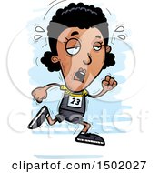 Clipart Of A Tired Running Black Female Track And Field Athlete Royalty Free Vector Illustration
