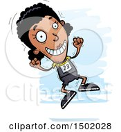 Clipart Of A Jumping Black Female Track And Field Athlete Royalty Free Vector Illustration