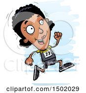 Clipart Of A Running Black Female Track And Field Athlete Royalty Free Vector Illustration