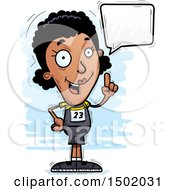 Clipart Of A Talking Black Female Track And Field Athlete Royalty Free Vector Illustration