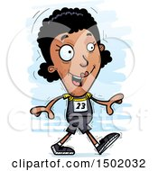 Clipart Of A Walking Black Female Track And Field Athlete Royalty Free Vector Illustration