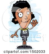 Clipart Of A Waving Black Female Track And Field Athlete Royalty Free Vector Illustration