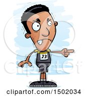 Clipart Of A Mad Pointing Black Male Track And Field Athlete Royalty Free Vector Illustration