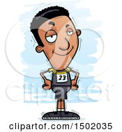 Clipart Of A Confident Black Male Track And Field Athlete Royalty Free Vector Illustration