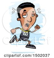 Clipart Of A Tired Running Black Male Track And Field Athlete Royalty Free Vector Illustration