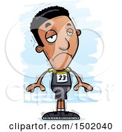 Clipart Of A Sad Black Male Track And Field Athlete Royalty Free Vector Illustration
