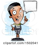 Clipart Of A Talking Black Male Track And Field Athlete Royalty Free Vector Illustration