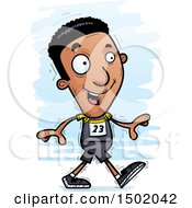 Clipart Of A Walking Black Male Track And Field Athlete Royalty Free Vector Illustration