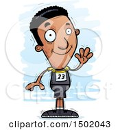 Clipart Of A Waving Black Male Track And Field Athlete Royalty Free Vector Illustration