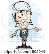 Clipart Of A Mad Pointing White Senior Female Track And Field Athlete Royalty Free Vector Illustration