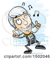 Clipart Of A White Senior Female Track And Field Athlete Doing A Happy Dance Royalty Free Vector Illustration