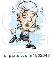 Clipart Of A Tired Running White Senior Female Track And Field Athlete Royalty Free Vector Illustration