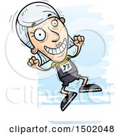 Clipart Of A Jumping White Senior Female Track And Field Athlete Royalty Free Vector Illustration