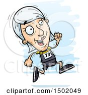 Clipart Of A Running White Senior Female Track And Field Athlete Royalty Free Vector Illustration