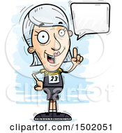 Clipart Of A Talking White Senior Female Track And Field Athlete Royalty Free Vector Illustration