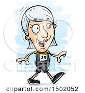 Clipart Of A Walking White Senior Female Track And Field Athlete Royalty Free Vector Illustration