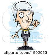 Clipart Of A Waving White Senior Female Track And Field Athlete Royalty Free Vector Illustration