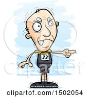 Clipart Of A Mad Pointing White Senior Male Track And Field Athlete Royalty Free Vector Illustration