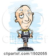 Clipart Of A Confident White Senior Male Track And Field Athlete Royalty Free Vector Illustration