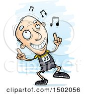 Clipart Of A White Senior Male Track And Field Athlete Doing A Happy Dance Royalty Free Vector Illustration