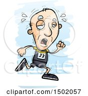 Clipart Of A Tired Running White Senior Male Track And Field Athlete Royalty Free Vector Illustration