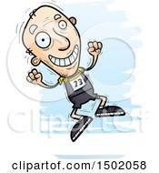Clipart Of A Jumping White Senior Male Track And Field Athlete Royalty Free Vector Illustration