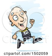 Clipart Of A Running White Senior Male Track And Field Athlete Royalty Free Vector Illustration