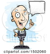 Clipart Of A Talking White Senior Male Track And Field Athlete Royalty Free Vector Illustration
