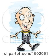 Clipart Of A Walking White Senior Male Track And Field Athlete Royalty Free Vector Illustration