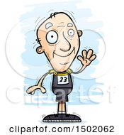 Clipart Of A Waving White Senior Male Track And Field Athlete Royalty Free Vector Illustration