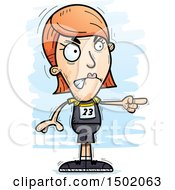 Clipart Of A Mad Pointing White Female Track And Field Athlete Royalty Free Vector Illustration