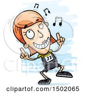 Clipart Of A White Female Track And Field Athlete Doing A Happy Dance Royalty Free Vector Illustration