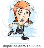 Clipart Of A Tired Running White Female Track And Field Athlete Royalty Free Vector Illustration