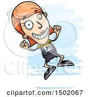 Clipart Of A Jumping White Female Track And Field Athlete Royalty Free Vector Illustration by Cory Thoman