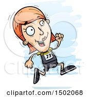 Clipart Of A Running White Female Track And Field Athlete Royalty Free Vector Illustration