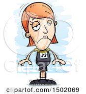 Clipart Of A Sad White Female Track And Field Athlete Royalty Free Vector Illustration