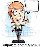 Clipart Of A Talking White Female Track And Field Athlete Royalty Free Vector Illustration
