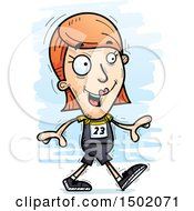 Clipart Of A Walking White Female Track And Field Athlete Royalty Free Vector Illustration