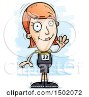 Clipart Of A Waving White Female Track And Field Athlete Royalty Free Vector Illustration