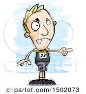 Clipart Of A Mad Pointing White Male Track And Field Athlete Royalty Free Vector Illustration