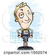 Clipart Of A Confident White Male Track And Field Athlete Royalty Free Vector Illustration