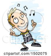 Clipart Of A White Male Track And Field Athlete Doing A Happy Dance Royalty Free Vector Illustration